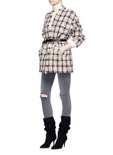 Isabel Marant 'Oliana' check plaid oversized frayed tweed jacket