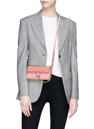 Figure View - Click To Enlarge - Chloé - 'Faye' suede flap leather crossbody wallet