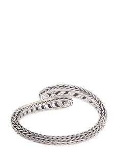 John Hardy 18k yellow gold silver hammered chain effect bypass cuff