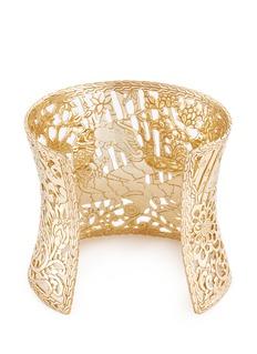 John Hardy Diamond sapphire 18k yellow gold Naga wide cuff