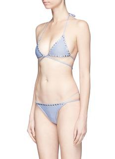 SAME SWIM 'The Vixen' denim effect wraparound bikini top