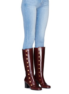 Mulberry 'Marylebone' press stud knee high leather boots