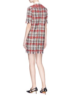 Gucci 'Nymphaeum' slogan patch bow brooch tweed dress