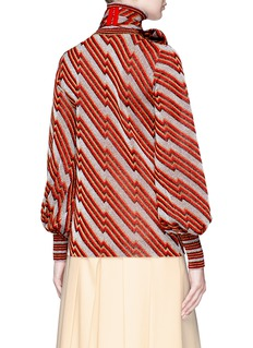 Gucci Detachable pussybow collar diagonal Lurex knit sweater