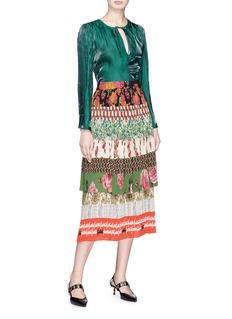 GUCCI Acid Blooms拼接设计花卉叠层半裙