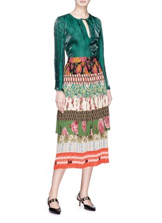 Gucci 'Acid Blooms' patchwork print tiered plissé pleated silk crepe skirt