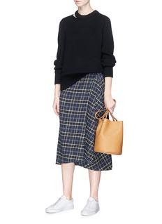 Vince Check plaid flannel mock wrap skirt