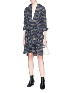 Vince Sleeve tie check plaid flannel dress
