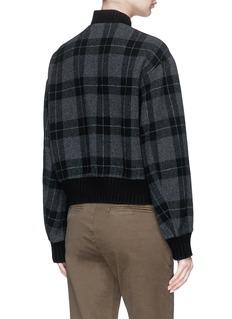 Vince Wool-blend check plaid melton bomber jacket
