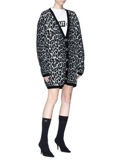 Magda Butrym 'Rochester' oversized leopard print wool-cashmere cardigan