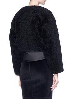 T By Alexander Wang Sheepskin shearling panelled cropped twill bomber jacket