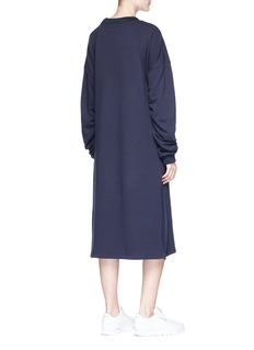 GROUND-ZERO Ruched sleeves tie front sweatshirt dress