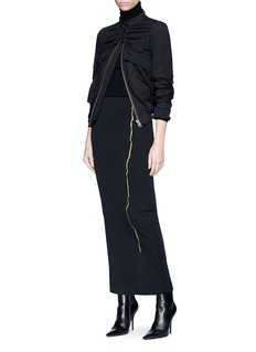 Haider Ackermann 'Nagel' metallic embroidered jersey pencil skirt