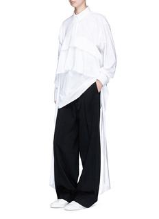 Cédric Charlier Tiered sash cotton poplin shirt