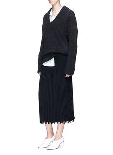Cédric Charlier Pleat effect rib knit midi skirt
