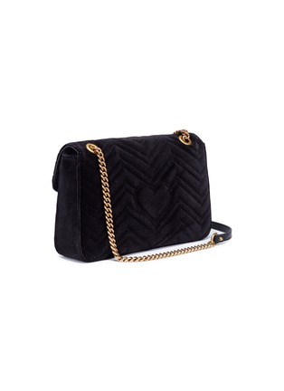 Figure View - Click To Enlarge - Gucci - 'GG Marmont' slogan floral appliqué matelassé velvet crossbody bag