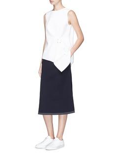 Comme Moi Flap pocket flared crepe skirt