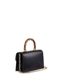Gucci 'Ottilia' jewelled insect snakeskin flap bamboo top handle leather bag