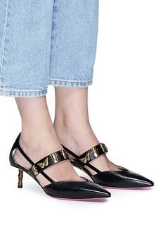 Gucci Bamboo effect heel antique insect leather pumps