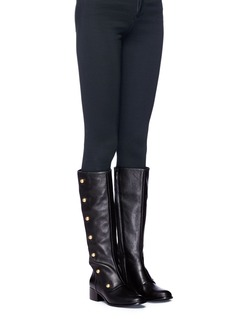 Michael Kors 'Maisie' mock button flap leather knee high boots