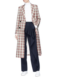 Comme Moi Tartan check long blazer