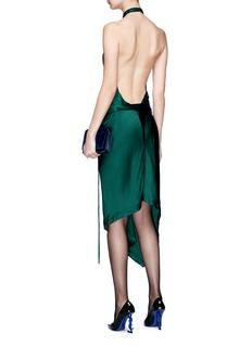 Saint Laurent Floral appliqué open back halterneck satin dress