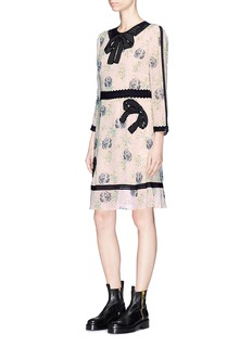 Coach Sequin bow appliqué prairie dog print dress