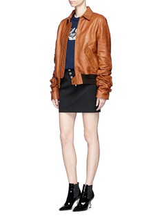Saint Laurent Ruched sleeve oversized vintage leather jacket