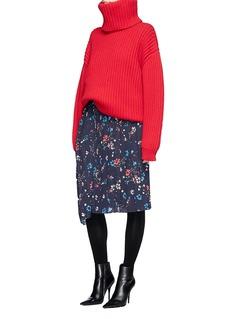 Balenciaga Hem sash oversized virgin wool chunky rib knit sweater
