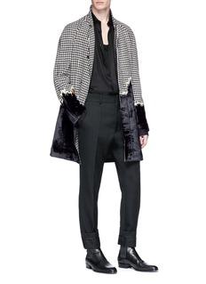Haider Ackermann Virgin wool herringbone velvet patchwork coat