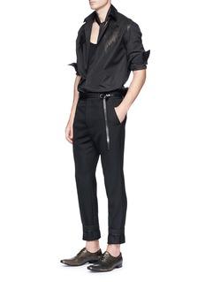 Haider Ackermann Leather yoke poplin shirt
