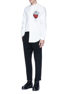 Ports 1961 Beaded heart embroidered shirt