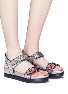 Ash 'Shine' floral sequin appliqué metallic sandals