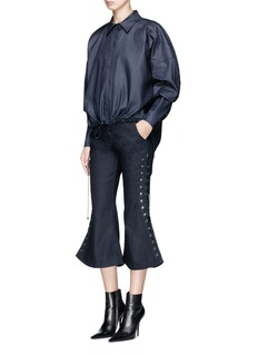 Angel Chen Oversized cropped cotton-blend shirt