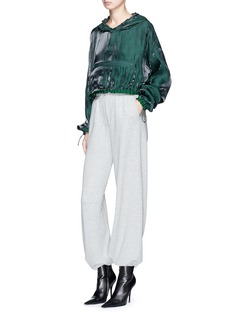 Angel Chen Cropped charmeuse hoodie