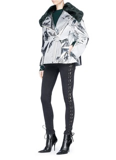 Angel Chen Faux fur collar metallic mirror boxy jacket