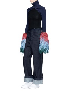 Angel Chen Colourblock fringe cuff turtleneck sleeves