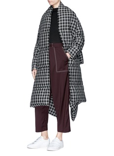 FFIXXED STUDIOS Tartan check extended shawl oversized puffer jacket