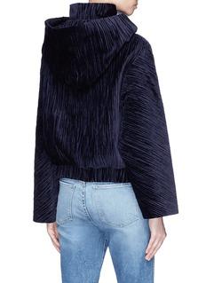 FFIXXED STUDIOS 'Home' plissé pleated velvet hooded bomber jacket