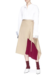 FFIXXED STUDIOS Pleated panel belted cotton twill wrap midi skirt