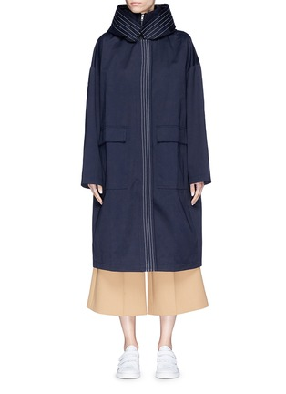 Main View - Click To Enlarge - FFIXXED STUDIOS - Stripe oversized cotton twill hooded coat