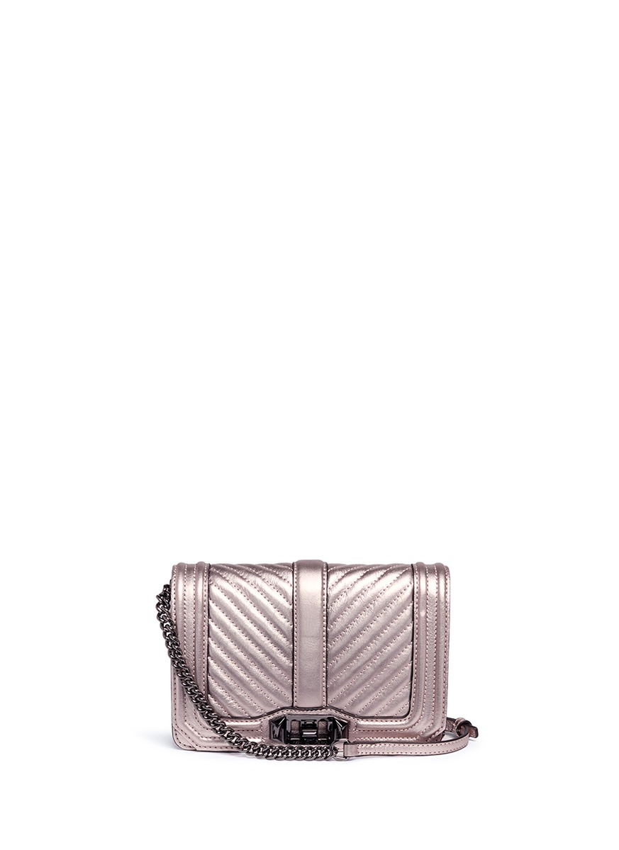 'Love' small quilted leather crossbody bag