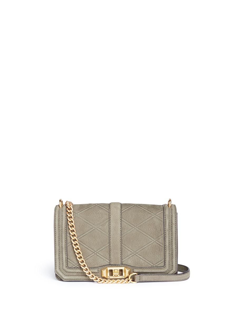 'Love' quilt embossed nubuck leather crossbody bag
