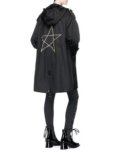 Tu Es Mon Trésor 'Bijou Big' star embellished hooded canvas M-51 parka