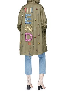 Tu Es Mon Trésor 'The End' ribbon slogan rose appliqué canvas M-51 parka