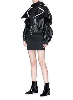 Jinnnn Detachable sleeve leather jacket