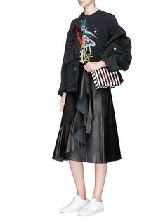 Cecilia Ma 'Woke Up' embroidered stripe leather box clutch