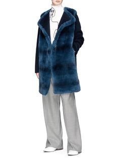 Yves Salomon Rabbit fur melton coat