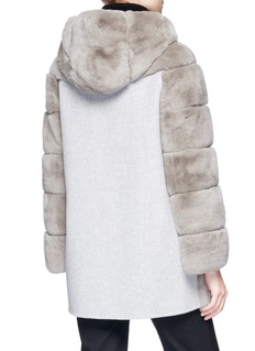 Yves Salomon Melton back Rex rabbit fur hooded coat