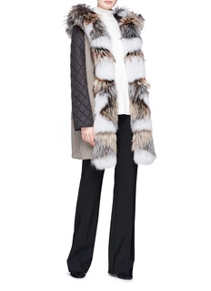 Yves Salomon Two-in-one fox fur and melton coat
